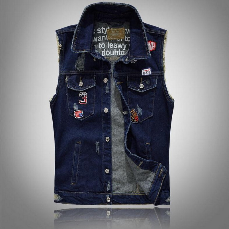 VXO Men Denim Waistcoat Korean version of self-cultivation tide men/'s  patch denim vest badge embroidery holes denim  jacket