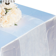 1pcs 30 x 275cm Organza Table Runner Party Banquet Decoration Bow Swag Wedding Decoration Crystal Tulle white(China)