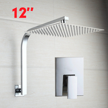 Chrome Brass 12 inches Rainfall Square Shower Head + Goose Neck Shower Arm Set Shower Set Faucets
