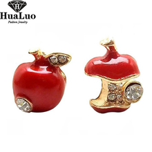 New Fashion Cheap Good Quality Red and Green Cute Apple Stud Earring for Women Jewelry Wholesale Free Shipping E3 E44(China)