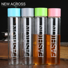 JUH 1Pc 550ml Fashion Tea Milk Water Juice Bottle With Cover And Color Optional Sport Bottle Logo Printing Customized In Bulk