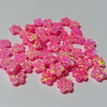 50pcs/ lot   Free Shipping  8mm Flower Opal, Synthetic Drilled Pink Fire  Flower Cabochon Opal for silver  Opal Necklace