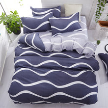 Wongsbedding Bedding Set Single Double Queen King Sizes Striped Duvet Cover set Flat Sheet with Pillow Cases bed linen set new(China)