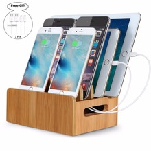 Bamboo Charging Station with Multiple Port Desktop Fast Charger Multiple USB Device Charging Dock Stand Smartphones Phone(China)
