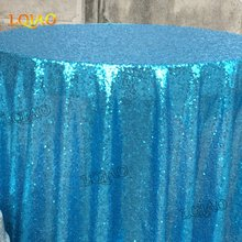 Customize-Turquoise 120in round sequin tablecloth,White 96in round sequin tablecloth, Light Gold 120x280in sequin tablecloth(China)