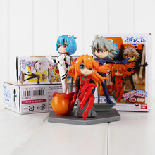 3pcs/lot Neon Genesis Evangelion EVA Figures Toy Ayanami Rei Asuka Langley Soryu Nagisa Kaworu Q Version Model Doll for Children