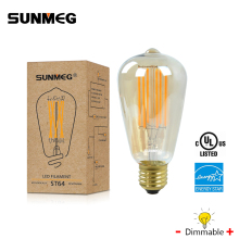 SUNMEG ST64 8W LED Bulb E27 220V Dimmable Vintage Edison Filament Lamp Warm White Decorative Bedroom Living Room,Amber/Clear - Lighting Your Heaven Store store
