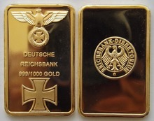 DEUTSCHE REICHSBANK 1 Ounce GOLD PLATED BAR --- GERMAN IRON CROSS GOLD BAR Free shipping