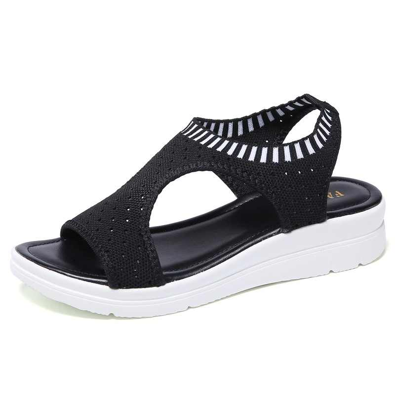 Women Sandals 2019 Fashion  Breathable Comfort Shopping Ladies Sandals Summer Shoes wedge Black White Sandal Shoes