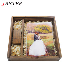 JASTER LOGO customized Spades wooden Photo Album usb+Box usb flash drive Pendrive 4GB 8GB 16GB 32GB Photography Wedding gifts