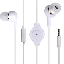 Hot 3.5mm Retractable Earphones Bass Stereo In-Ear Headset  fone de ouvido with Microphone for Mobile PHone MP3 MP4 Player #OR