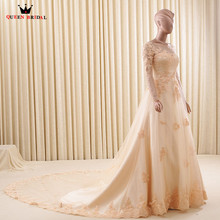 Custom Size A-line Long Sleeve Lace Formal Elegant Wedding Dresses Bridal Wedding Gowns 2018 New Fashion Vestido De Noiva WD88(China)