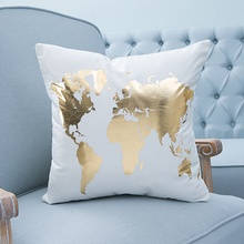 45*45 Square Cotton Linen Decorative Cushion Case Sofa Home Decor Gold Silver Pattern Throw Cushion