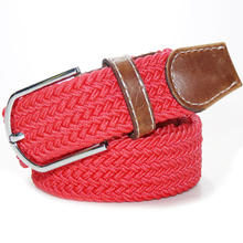 Limit buy For Men/Women Solid color elastic rubber Belt Alloy Buckle Woven Waistband