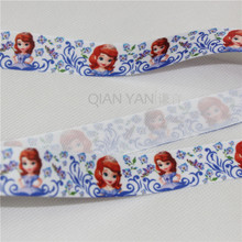 Sofia The First Princess Hair Bow 5 Yards Blue Grosgrain Ribbon Tape Lovely Little Girl DIY Cartoon Webbing Printed 25mm
