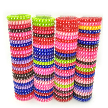 Lots 10 Pcs 5.5cm Dot  Elastic Telephone Wire Hairband Hair Ties Rope Plastic Hair Bands Accessories