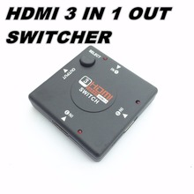 3 Port HDMI Switch Switcher Splitter 3 input 1 Output Box Selector for PS3 PS4 Smart HDTV 1080P 5input with remote control(China)