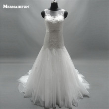 Buy 2017 New Arrival Mermaid Tulle Lace Belt Wedding Dresses Beautiful Bridal Gown Vestido De Novia for $199.20 in AliExpress store