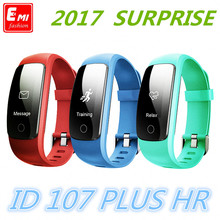 2017 Newest Smart Band ID107Plus HR Heart Rate Bracelet Monitor PluWristband Health Fitness Tracking For Android iOS  Vs MI Band