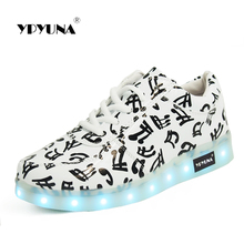 YPYUNA // Led luminous sneakers girls boys casual children shoes glowing with recharge lights up for kids