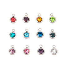 Simsimi birth stone charms Stainless steel 6mm(0.23inch) pendants crystal  diy Bracelet   Necklace accessories 12pcs lot Mixed a6b2519e8883