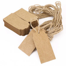 100Pcs Kraft Paper Tags Wedding Lace Scallop Label Luggage Note Blank Price Hang Tag Gift 4.5 x 9.5cm