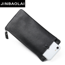 JINBAOLAI Luxury Male Leather Purse Men's Clutch Wallets Handy Bags fashion Carteras Mujer Wallets Men Black Brown Dollar Price(China)