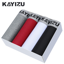 KAYIZU Underpants Men 4pcs/lot Cotton Boxer Shorts Men Panties Male Underwear Breathable Men Boxers Sexy Mens Underwear Lot(China)