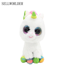 "SELLWORLDER Ty Beanie Boos ANIMALS Big Eyes 6"" 15cm White Unicorn with Rainbow Hair Plush Animal Toys"