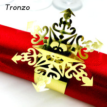 Tronzo 12Pcs/set Christmas Snowflake Napkin Ring For Business Dinner Wedding Party Table Decoration Towel Buckle Servie Supplies(China)