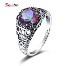 Szjinao Rainbow Round Stone 925 Pure Sterling Silver Ring Jewelry Manufacturer Anel Vintage Wedding Rings Christmas Gift Bague(China)