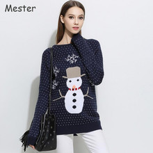 European Women Winter Christmas Sweater Cartoon Snowman Snowflake Knitting Pattern Jumper Loose Long Jacquard Pullover Sweaters(China)