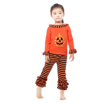 2016 Halloween Boutique Outfits Orange Long Sleeve Stripe Leggings Set Girls Boutique Ruffle Pumpkin Outfits Halloween Kaiya