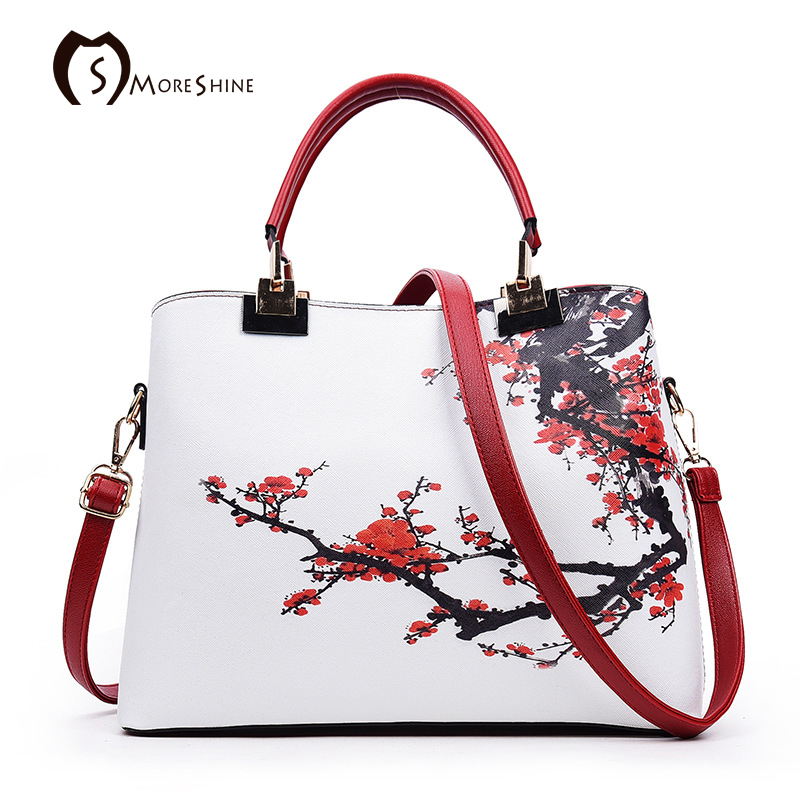MORESHINE brand Women Plum flowers leather Handbags Chinese Style design printing womens bag Female brief Crossbody bags tote<br><br>Aliexpress