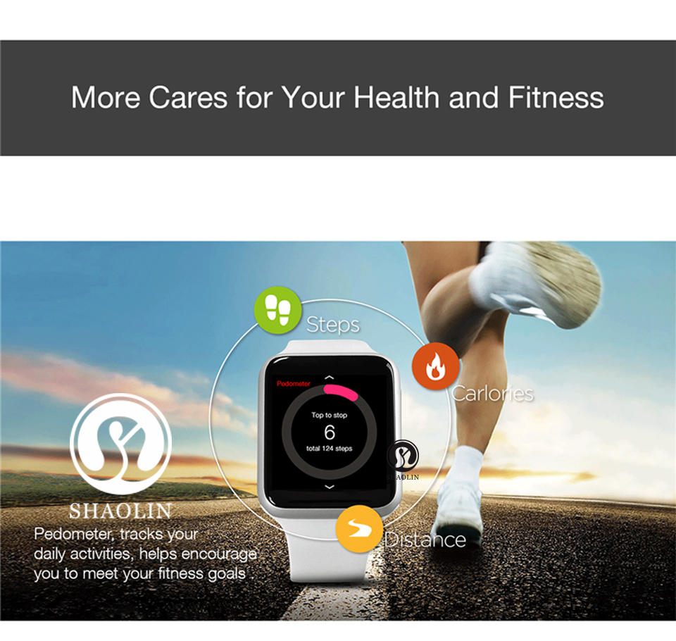 SHAOLIN Bluetooth Smart Watch Heart Rate Monitor Smartwatch Wearable Devices for iPhone IOS and Android Smartphones apple watch-9