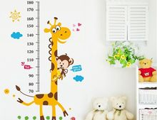 1Set Large Size 100*180cm Children Growth Chart Wall Sticker & Giraffe Kids Height Measuring Scale(China)
