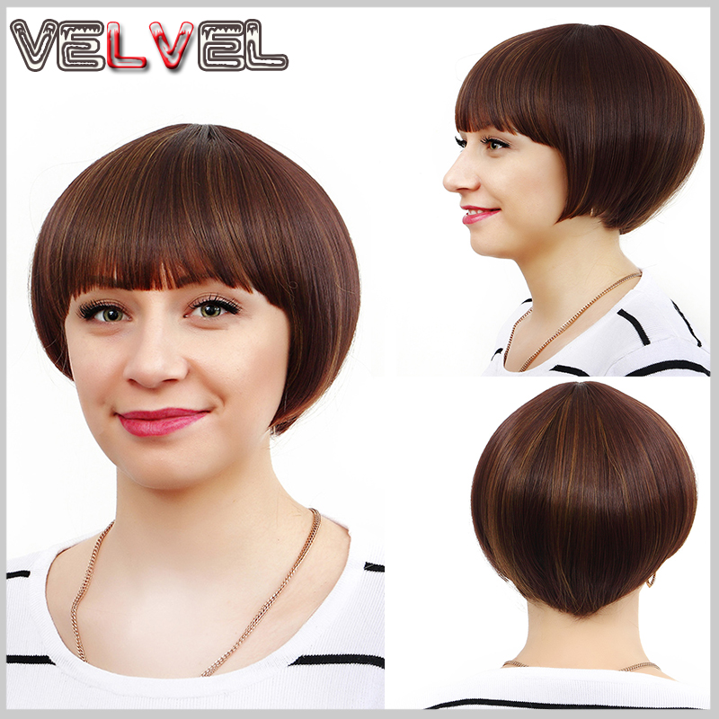 Short Hair Wig Natural As Real Hair Cosplay Wigs Neat Bangs Bob Wigs Cosplay Synthetic Party Halloween Peruca Pelucas VELVEL<br><br>Aliexpress