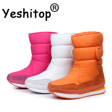 2017 Women Winter Boots Waterproof Snow Shoes Black Autumn Women Mid Calf Boots Female Thermal for Skiing