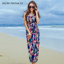 SNOW PINNACLE Women Dress Beach Summer Girls Floral Print Elegant Halter Maxi Dresses Cut Out Back Clothing Sexy 2017