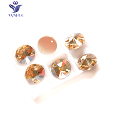 YANRUO 3200 Round GSHA 8 10 12 14 16 18 mm Gold Sew on Crystals Stones Clothes Sewing Applique Wedding Dresses(China)