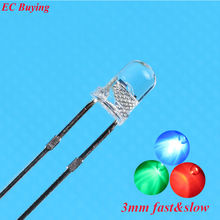 100 pcs Clear 3mm RGB  Slow/Fast Flashing Red Green Blue Multicolor Flicker 3 mm Light Emitting Diode LED Lamps Blinking