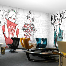 Custom 3d mural 3D European style wallpaper clothing store Cafe restaurant bar decoration fashion girl man wallpaper mural(China)