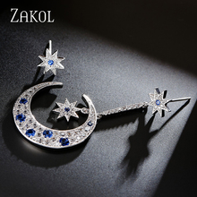 ZAKOL Luxury Blue Micro Inlay Cubic Zirconia Danger Earrings Classic Moon And Star Sliver Color Jewelry For Girl FSEP584