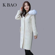 Winter women coats model Slim Wool Blends coat long section big hair collar single breasted long sleeved solid lapel coat female(China)