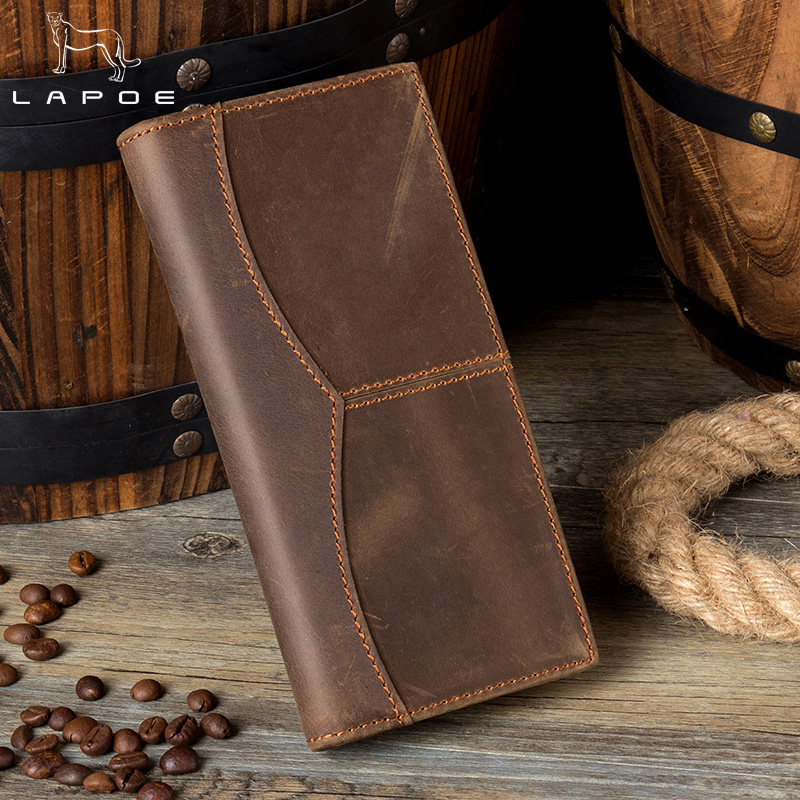 LAPOE Vintage Crazy Horse Genuine Leather Wallet Men Long Clutch Bag Leather Male Wallet Purse Coin Bag Money Clip Brown<br>