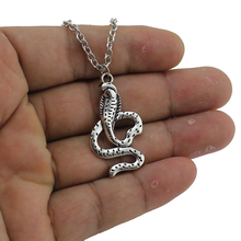 "2017 New Men Women's Jewelry Vintage Silver Tone 1.2""X0.6"" Cobra Snake Pendant Short Necklace Girls Lady Womens Gift ED4437"
