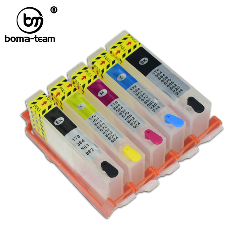 5Pk Refillable ink cartridge with chip HP 564XL Photosmart 7510 7515 C310 8550