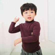 Turtleneck for girls High Collar Boys Girls Baby Clothing Tees Bear Long Sleeve T-shirt Unisex Solid Shirts Children Tops(China)