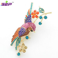 Rhinestone Crystals Animal Brooches Flower Parrot Hummingbird Bird Brooch Broach Pin Women Jewelry Accessories 6008