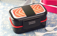 Double Layer Microwave Bento Lunch Box 1.4L Japanese Style Plastic Food Container